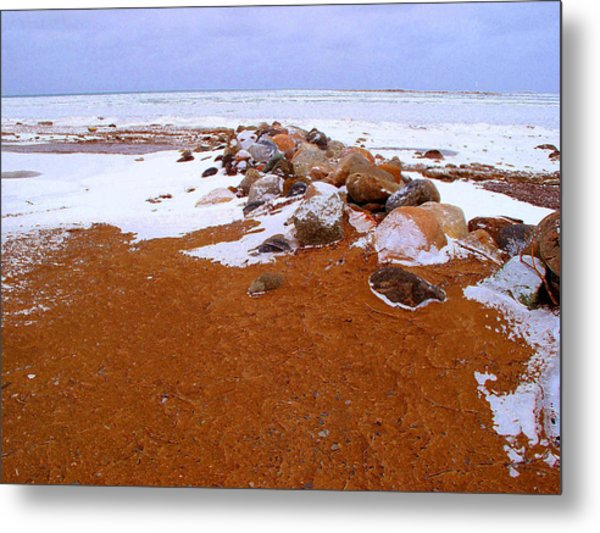 Rock Pile In Winter Wcae2pd  Metal Print by Lyle Crump