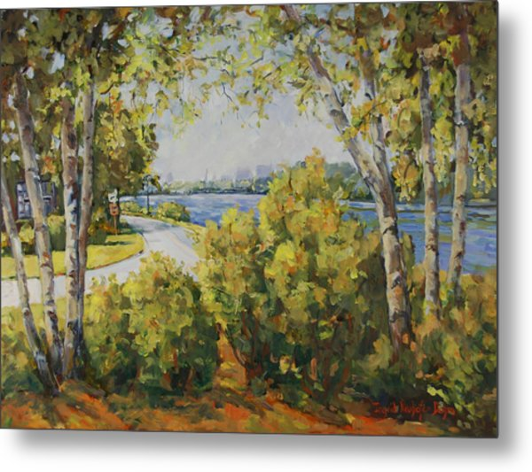 Rock River Bike Path Metal Print
