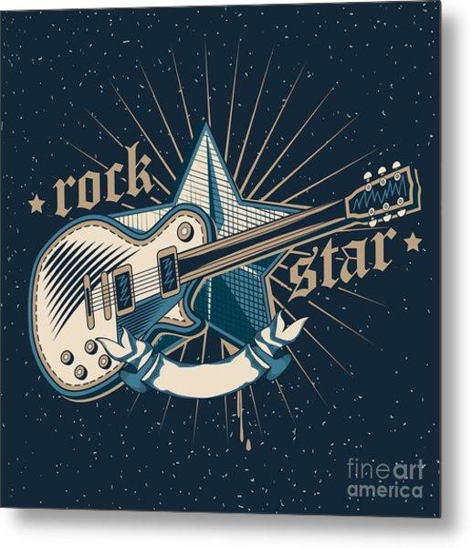 Rock Star Emblem Metal Print