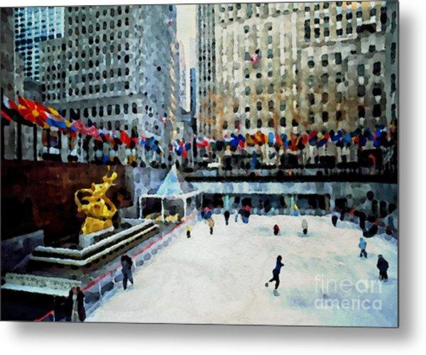 Rockefeller Center Ice Skaters Nyc Metal Print