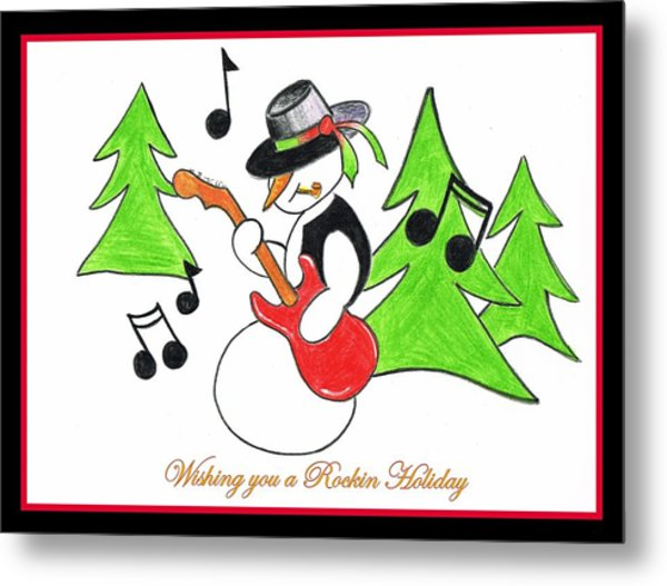 Rockin' Holiday Snowman Metal Print