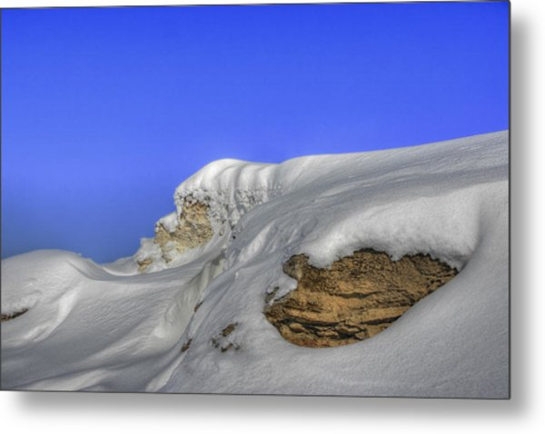Rocks Covered With Snow Against Clear Blue Sky Metal Print