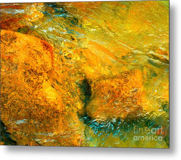 Rocks Under The Stream By Christopher Shellhammer Metal Print