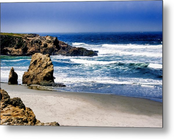 Metal Print featuring the photograph Rocky Beach Blue Mendocino by William Havle