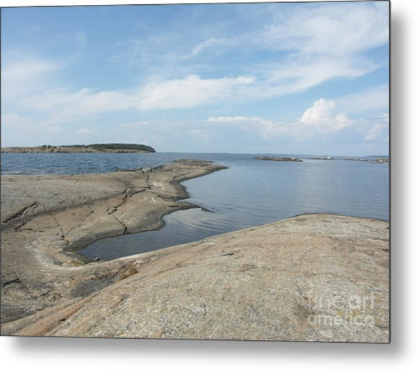 Rocky Coastline In Hamina Metal Print