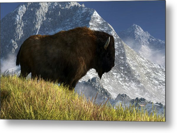 Metal Print featuring the digital art Rocky Mountain Buffalo by Daniel Eskridge