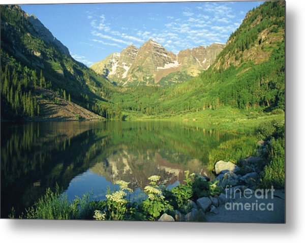 Rocky Mtn Lake Sunrise Metal Print