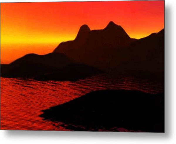 Rocky Sunset Metal Print