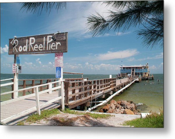Rod And Reel Pier Metal Print