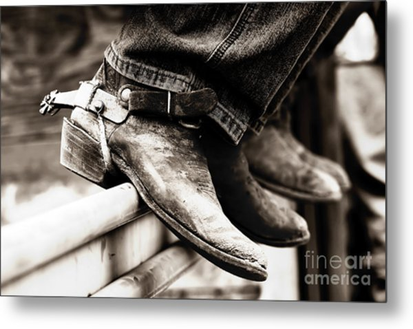 Rodeo Boots And Spurs In Black And White Metal Print