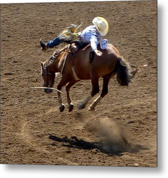 Rodeo Time Bucking Bronco 2 Metal Print