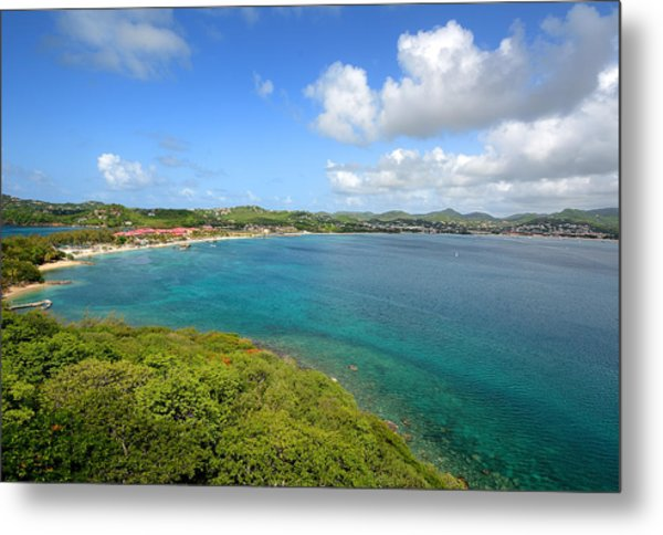Rodney Bay Viewed From Fort Rodney - St. Lucia Metal Print by Brendan Reals