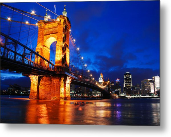 Roebling Bridge Cincinnati Metal Print