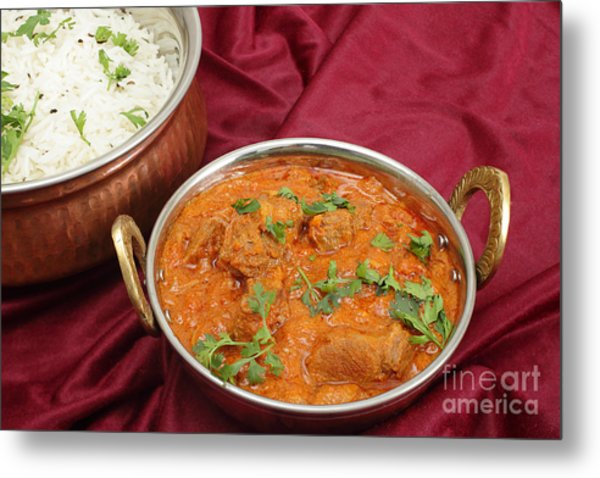 Rogan Josh In Kadai Bowl Metal Print by Paul Cowan