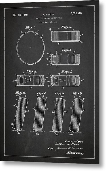 Roll Prevention Hockey Puck Patent Drawing From 1940 Metal Print