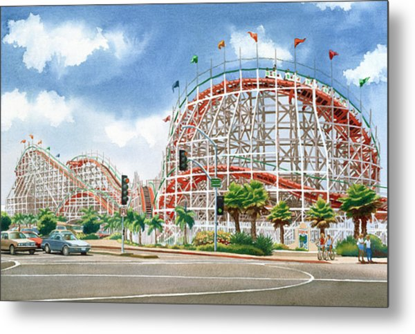 Roller Coaster Mission Beach Metal Print