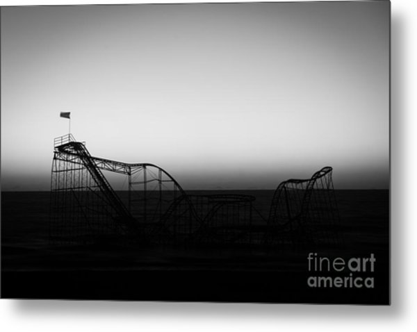 Roller Coaster Silhouette Black And White Metal Print