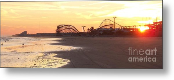 Roller Coaster Sunset Metal Print