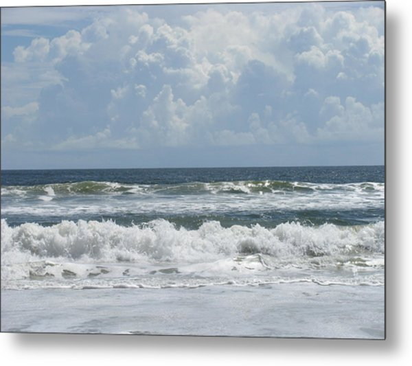 Rolling Clouds And Waves Metal Print