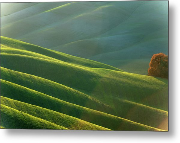 Rolling Tuscany Landscape At Evening Metal Print by Pavliha