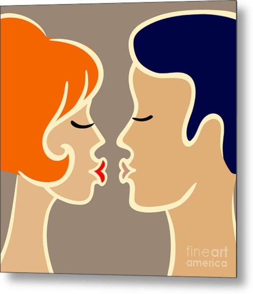 Romantic Cartoon Image Of Kissing Metal Print