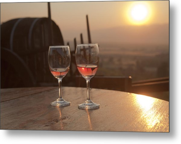 Romantic Sunset With A Glass Of Wine Metal Print