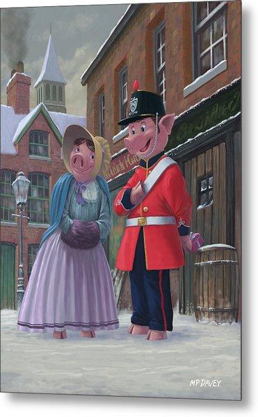 Romantic Victorian Pigs In Snowy Street Metal Print