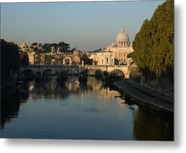 Rome - Iconic View Of Saint Peter's Basilica Reflecting In Tiber River Metal Print