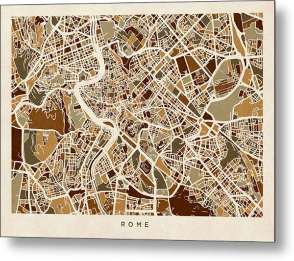 Rome Italy Street Map Metal Print