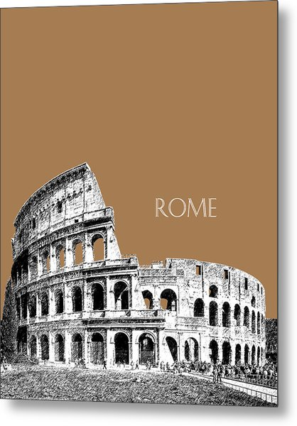 Rome Skyline The Coliseum - Brown Metal Print