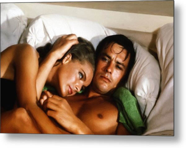 Romy Schneider And Alain Delon Metal Print