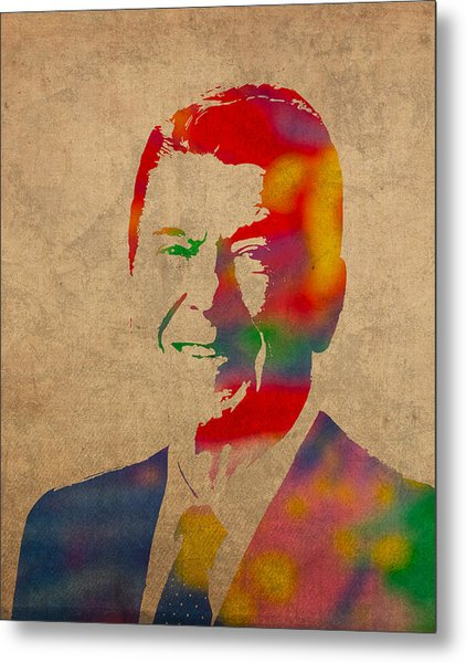 Ronald Reagan Watercolor Portrait On Worn Distressed Canvas Metal Print