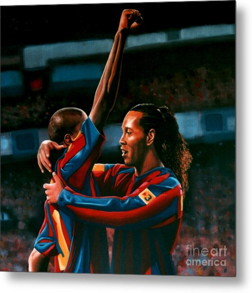 Ronaldinho And Eto'o Metal Print
