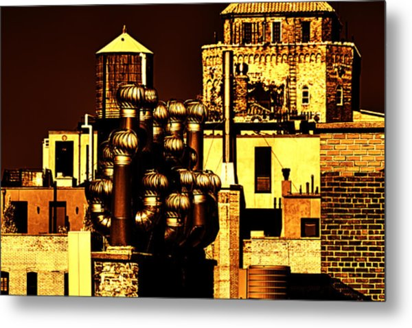 Roof Yellow Orange Metal Print