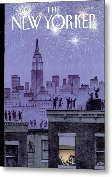 Rooftop Revelers Celebrate New Year's Eve Metal Print