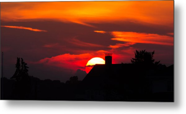 Rooftop Sunset Silhouette Metal Print