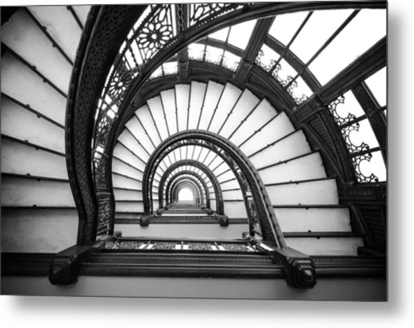 Rookery Building Oriel Staircase - Black And White Metal Print