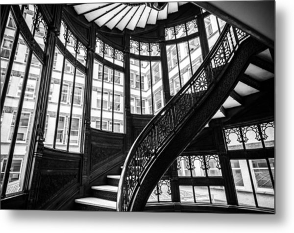 Rookery Building Winding Staircase And Windows - Black And White Metal Print