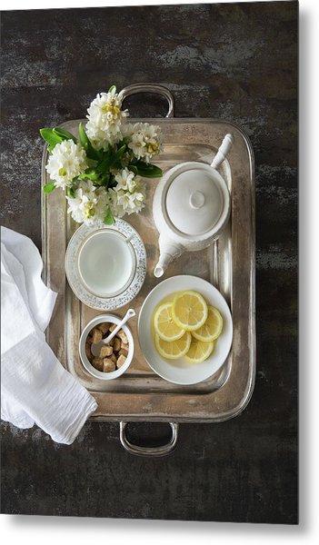 Room Service, Tea Tray With Lemons Metal Print by Pam Mclean
