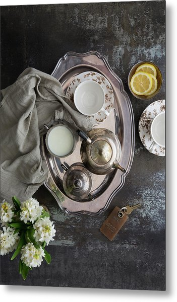 Room Service, Tea Tray With Milk And Metal Print by Pam Mclean
