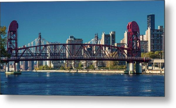 Roosevelt Island Bridge, Ny, Ny Metal Print