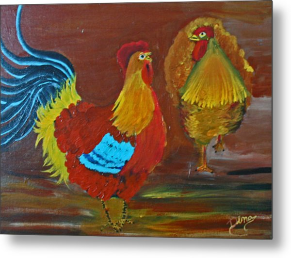 Rooster And Hen Metal Print by Dina Jacobs