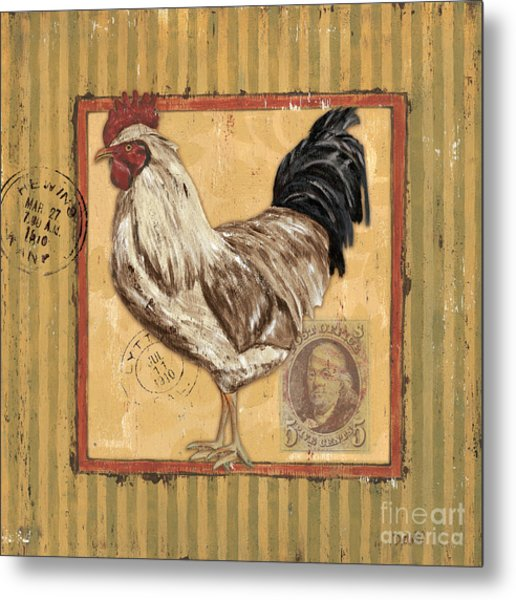 Rooster And Stripes Metal Print