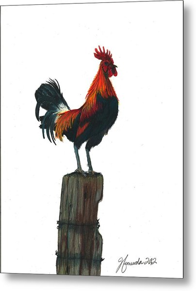 Rooster Beyond The Morning Metal Print