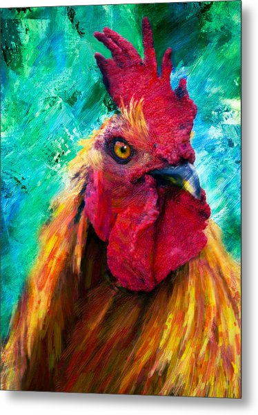 Rooster Colorful Expressions Metal Print