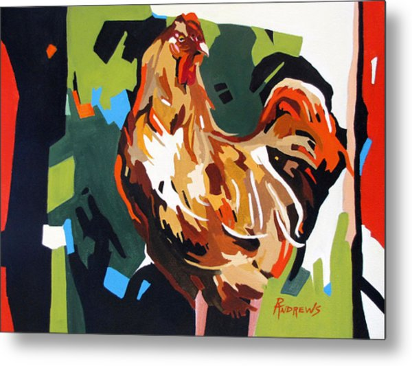Rooster Design In Acrylic Metal Print by Rae Andrews