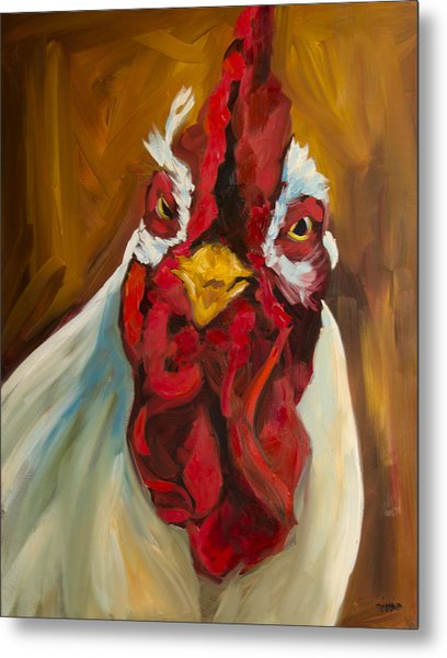 Rooster Face Metal Print