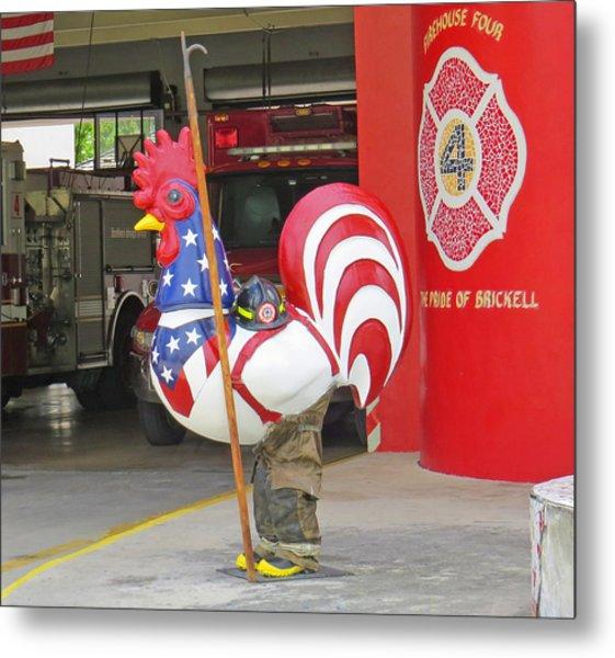 Rooster Fireman Metal Print
