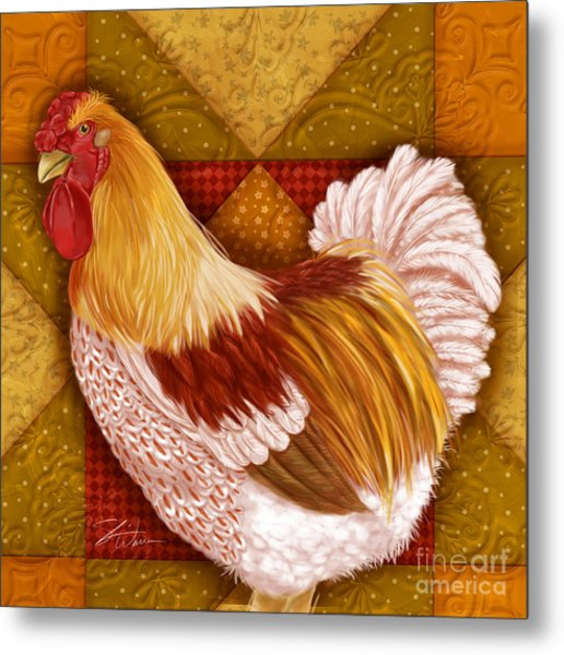 Rooster On A Quilt I Metal Print