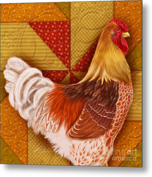 Rooster On A Quilt II Metal Print
